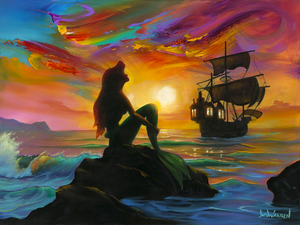 A shadowy Ariel sits on a rock in the ocean, mild waves surrounding her. In the distance, a giant lit up ship drifting away. The sky is painted with rainbow colors, swirling around a setting sun. These colors are reflected into the sparkling water beneath it, and in the waves.