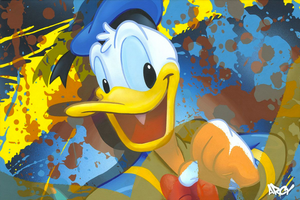 Donald Duck wearing blue hat, yellow and blue paint splatters.