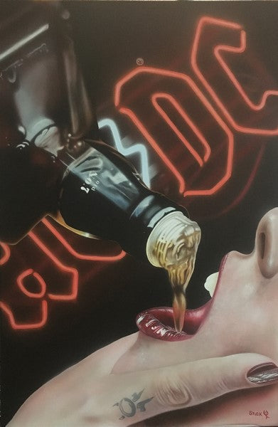 A partial view of a light skinned woman's face is pictured as a hand with a painted nail and a tattooed finger is holding her mouth open. A bottle of Jack Daniel's Old No. 7 is being poured into her mouth, and a glowing red emblem of AC/DC takes up an otherwise black background.