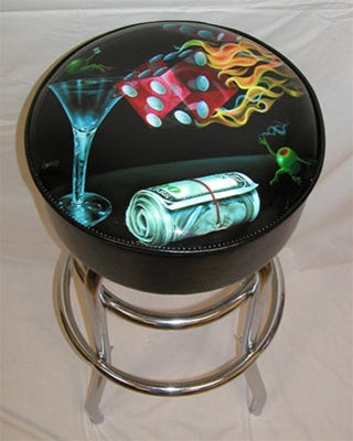 Shootin the Wad Bar Stool - Michael Godard Art Gallery