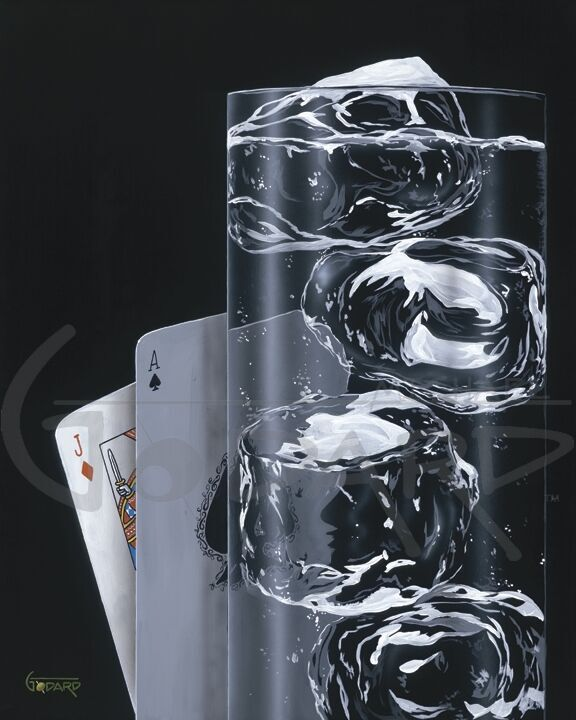 This is an elegant gambling piece. The photo realism of the glass and the glistening of the ice cubes might even make you thirsty. Of course we have a winning hand with the Ace of Spades and the Jack of Diamonds and a great drink of Clear Spritzer.
