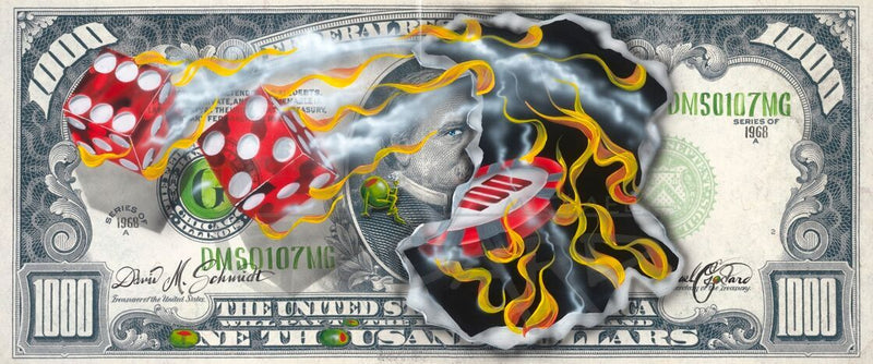 "Canvas Print. A $1,000 bill with two red dice, one showing a six, the other a five. A flaming $100 chip is consuming the image of American politician Grover Cleveland. Olives replace the ""O's"" in ""One Thousand""."