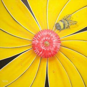 Yellow Flower Bee - Michael Godard Art Gallery