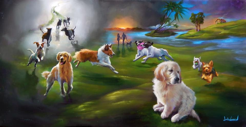 painted image of several dogs on grassy field with a meadow and stairway to heaven in the background