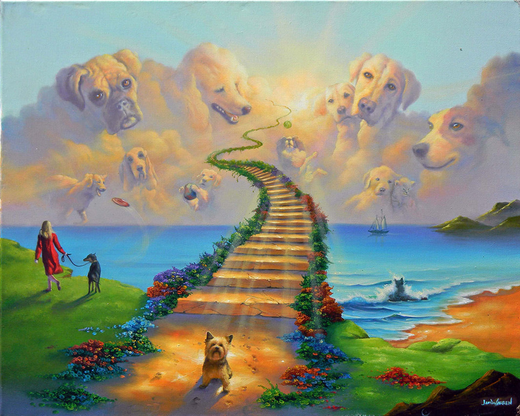 """Jim Warren Art Oil Painting Print On Canvas Home Decor/""""All Dogs Go To Heaven/"""""""