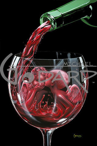 Black background canvas with the top of a wine glass being filled with red wine from a green bottle. Inside the glass are two angel children made of wine. One female, one male. The male is whispering into the little angel girl's ear and she is covering her mouth in awe.