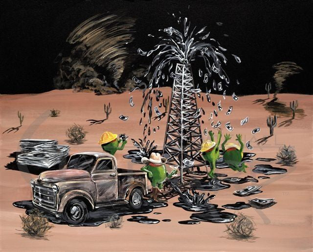 Black background canvas featuring three green olive oil rig workers wearing yellow hard hats, catching the cash bursting out the top of the oil pump. A green olive wearing a cowboy hat leans against an old brown pick up truck, holding a martini glass. A tornado is twisting in the background of this desert piece, with many cactus and a few tumble weeds rolling by.