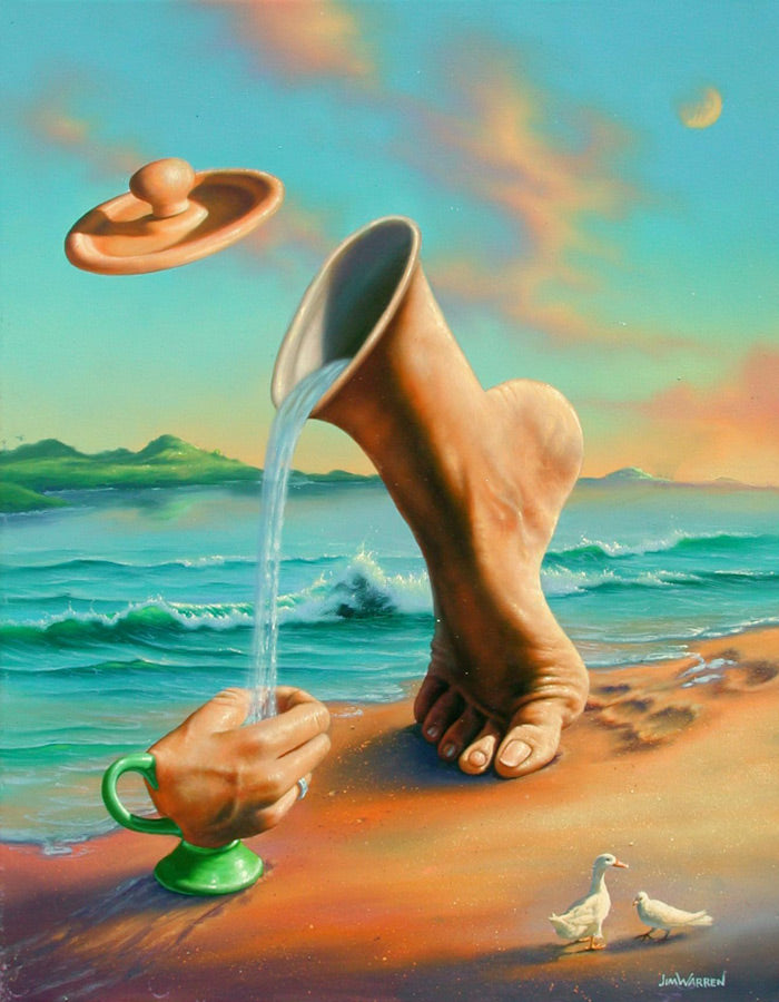 Surreal painting by Jim Warren of a foot poring water like a teapot into a hand like a teacup on the beach with ocean and sky in the background