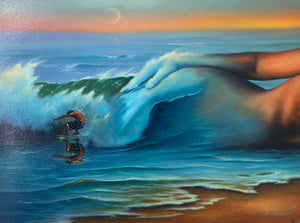 Painting of ocean waves blending into female figure with surfer