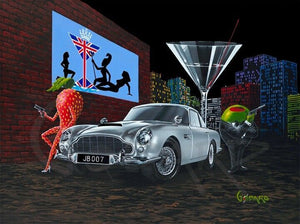 There is a green olive gangster holding a gun and dressed in a black tuxedo standing next to the silver Aston Martin car. A sexy strawberry holding a gun leans on the hood of the car. A British flag in the shape of a martini and three women hangs on the brick wall behind the car along with a martini glass and the colorful city landscape looms in the back ground.