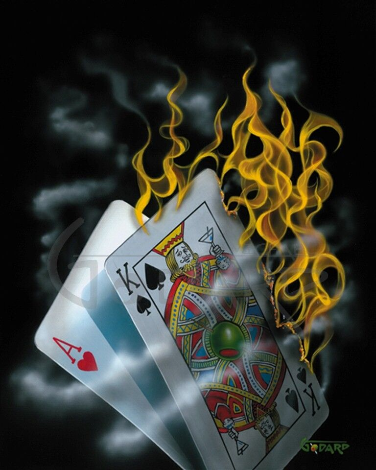 Black background Canvas. This image depicts the hand of cards on fire. The King is holding up a martini as if toasting the winning hand.  There is nothing more enjoyable than playing blackjack with a hot hand.