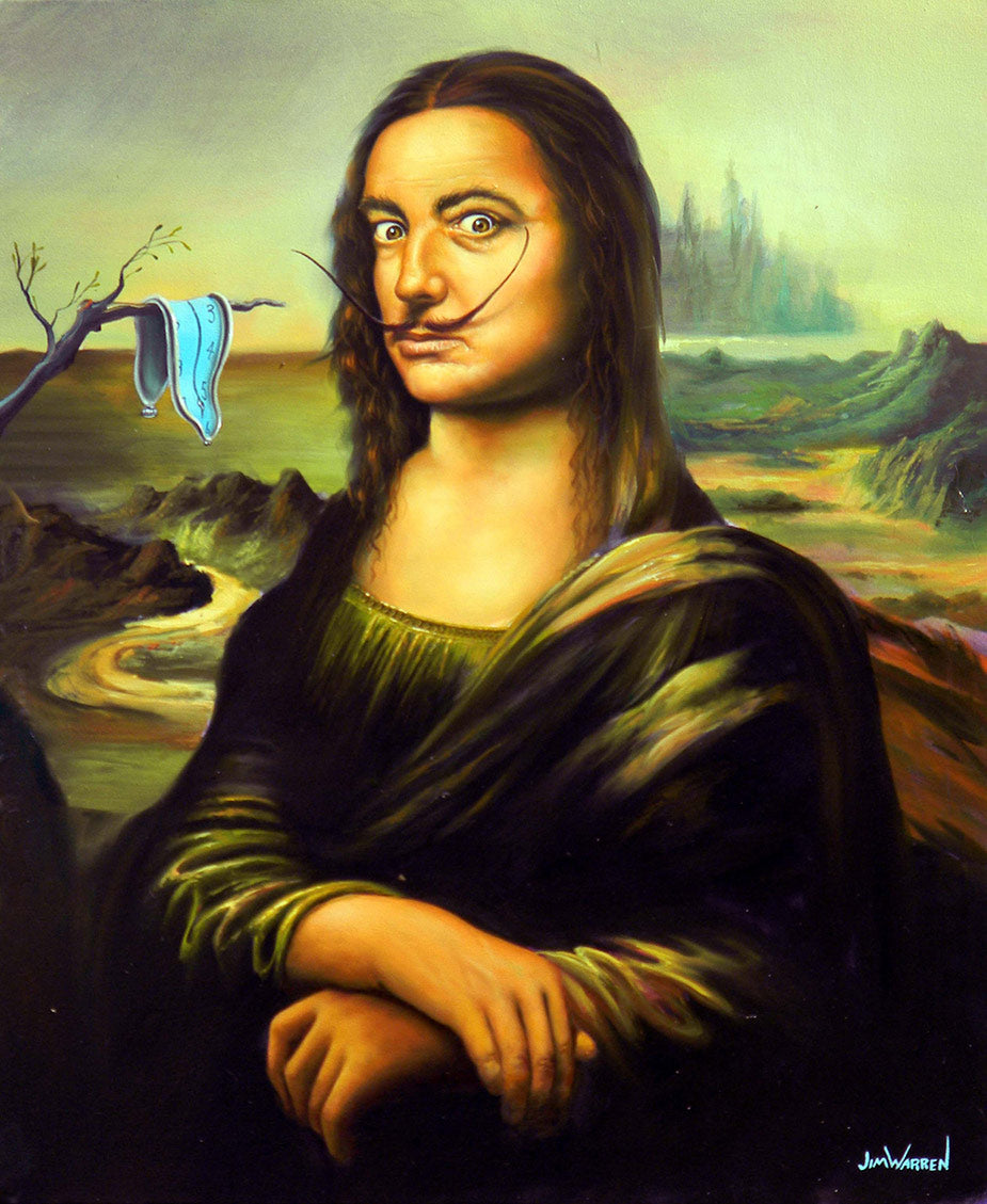 A painting by Jim Warren, portrait of Salvador Dali in reference to the Mona Lisa by Leonardo DaVinci with a Dali melting clock in the background