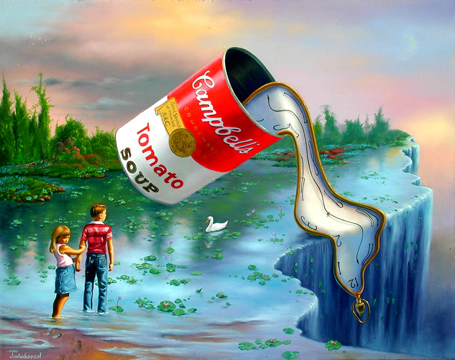"This painting features elements of four famous ones, such as a clock hanging over a waterfall from ""The Persistence of Memory"" by Dalí a can from Warhol's ""Campbell's Soup Cans"" piece, a young boy and girl found in the style of Rockwell, and the green nature found in Monet's."