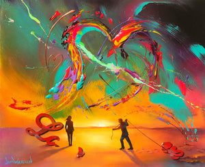 Painted image of a man and woman joing the word LOVE together with a colorful abstract sky above them forming a heart shape in the sky