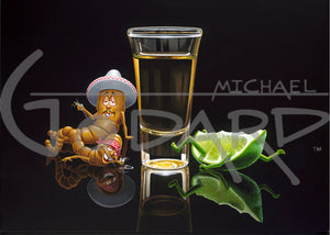 Black background on canvas depicting two worms laying drunk on the floor next to a shot of tequila. The lime is laying on his back with arms and legs flailing. Hector is wearing a white sombrero and Lupe is wearing a red bandana.
