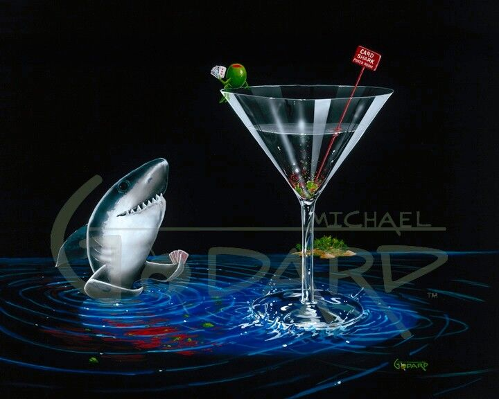 "Black background canvas depicting a shark playing poker from the blue water below a martini glass. On the rim of the martini glass sits a green olive holding his own poker hand. A red sign inside the glass reads, ""Card Shark Poker Room"""
