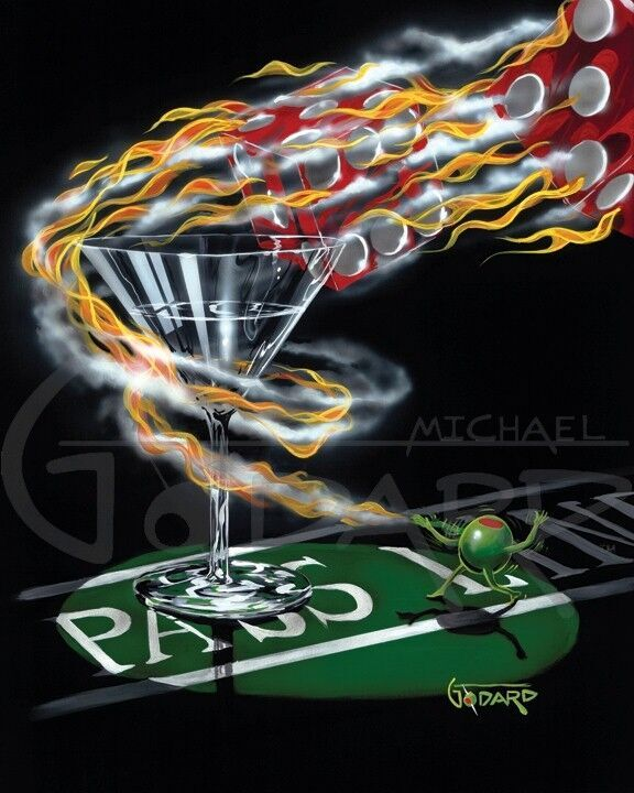"Black background canvas. The dice are white hot and on fire. A male green olive is sitting on the pass line and had just released them. The flaming dice leave his hand and make a complete ""pass"" around the stem of the martini glass and are heading toward the back of the craps table."