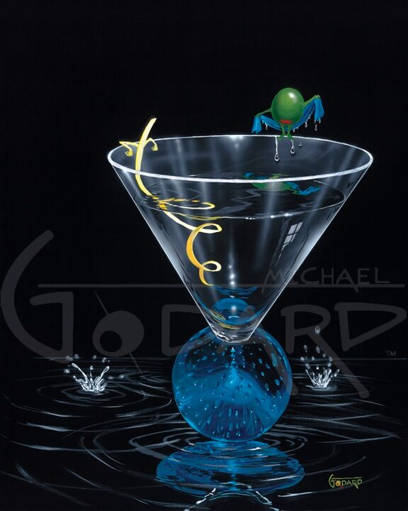 Black background on canvas depicting a green olive wrapping a blue towel around herself after taking a dip inside the martini glass. The yellow straw is twisted and leaning back against the glass. The blue, round bottomed martini glass is sitting on a thin layer of vodka.