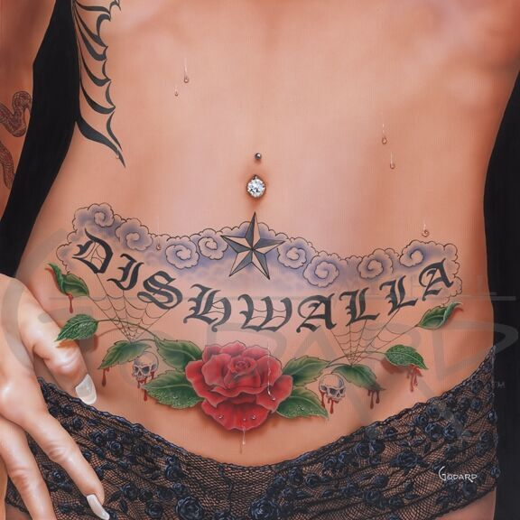 "Depiction of the Dishwalla album cover. ""Dishwalla"" tattoo across the tummy of a woman with a belly button piercing. Tattoo also consists of a red rose and skulls with the green leaves dripping blood."