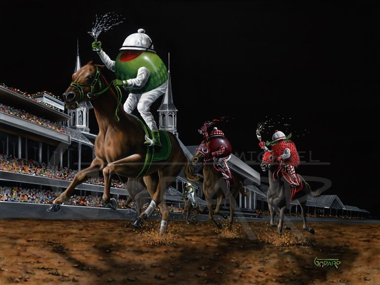 Black background canvas depicting an olive, a strawberry and a grape riding three legged horses around a track. The olive holds a martini. The strawberry holds a glass of champagne. And the purple grape holds a glass of red wine. The stands are full of fans and the green olive is winning!