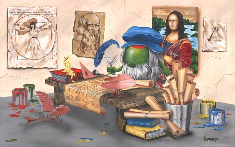 Depictions of Leonardo De Vinci's art pieces: Vitruvian Man, Mona Lisa, his own self-portait hang on the wall behind the desk where an olive De Vinci wearing a blue hat works at his desk while drinking a martini. Several cans of paint sit around the desk, along with books and rolled papers in a bucket.