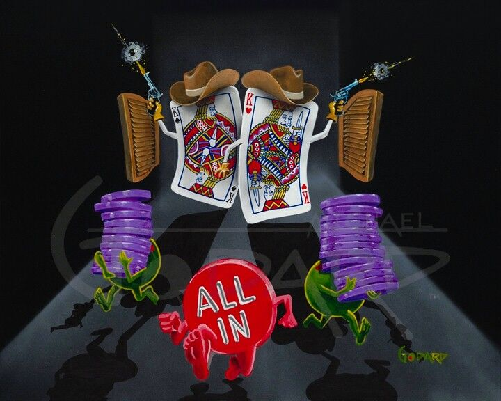 "Black background canvas depicting two ""cowboy"" cards in the King of hearts and spades shooting their guns in the air and wearing brown cowboy hats. The red ""All In"" chip runs, as do the two green olives carrying several purple chips."