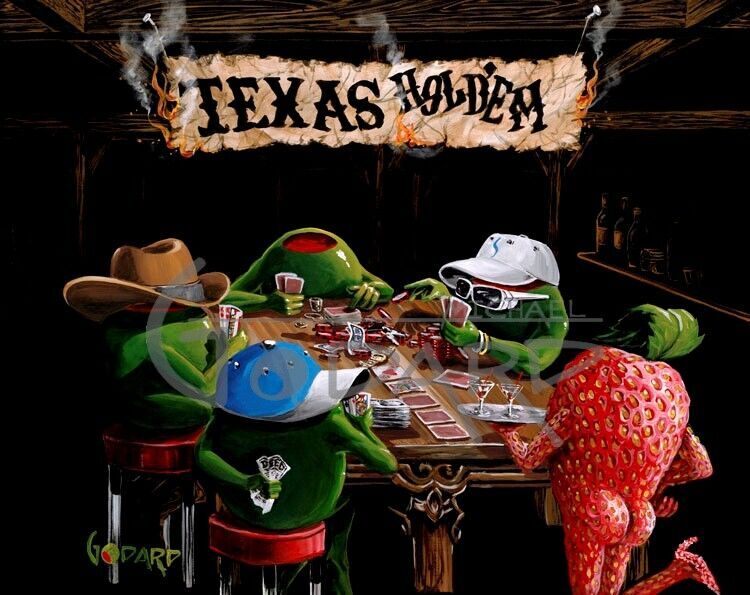 Michael Godard Artwork - painting of 4 olives playing poker and a strawberry standing at the table with a sign that says Texas Hold Em overhead