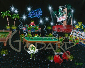 Painting by Michael Godard of Olives playing casino games like the original members of the Rat Pack in Las Vegas