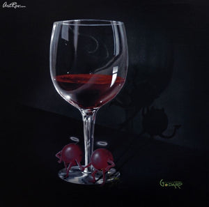 He Devil She Devil Red Wine Original - Michael Godard Art Gallery