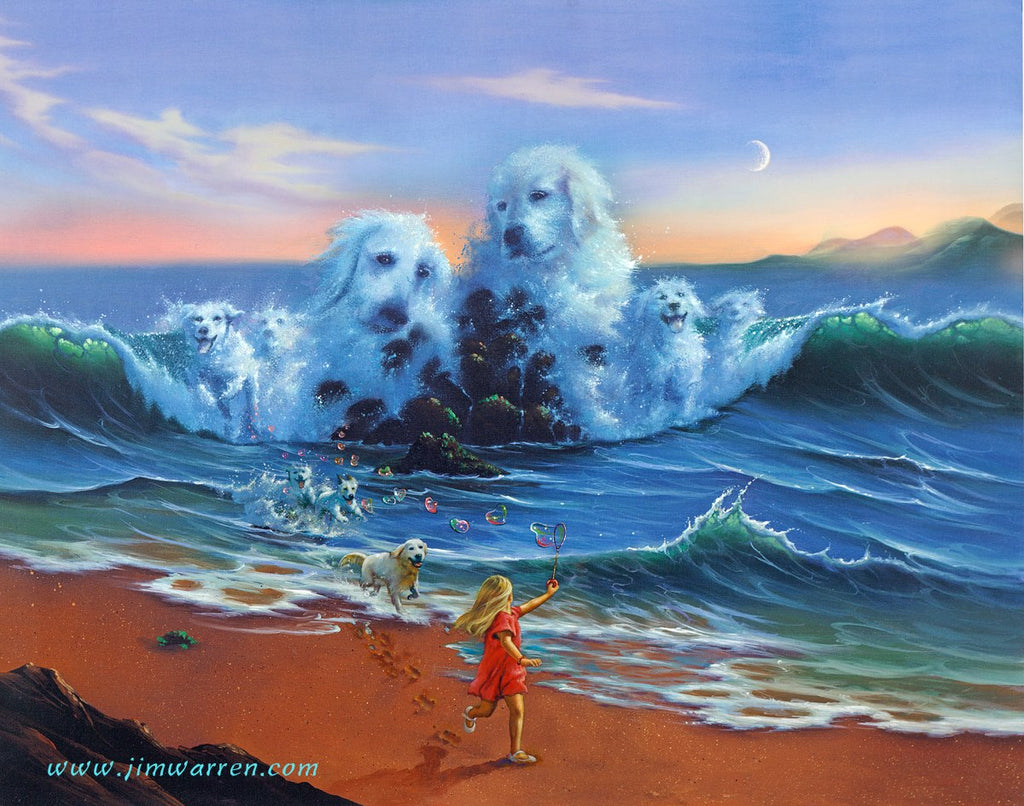 Painted image of a little girl running on the beach with red heart balloons and her dog, other images of dogs emerging from the waves of the ocean