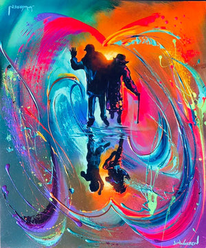 A painted image of a silhouette of an older couple with a reflection of two children below them on a colorful background of splattered and swirled paint