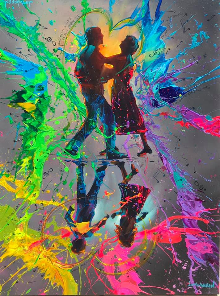 Painted silhouette of an older couple dancing with a reflection of two children dancing below them and a colorful abstract background of splattered paint