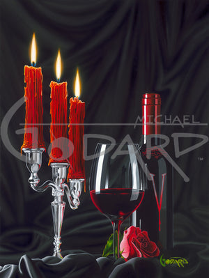 Painting by Michael Godrd of 3 red candles burning next to wine bottle, glass of red wine, and red rose.