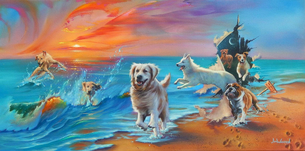 painted image of several dogs playing in the waves of the ocean and running on the beach, some seem to be jumping through a hole in the canvas