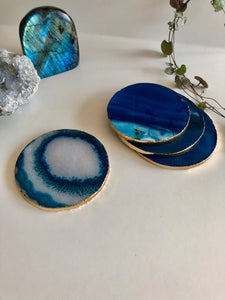Blue Agate Coasters set of 4