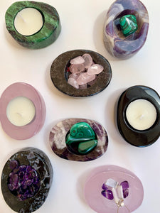 Ruby Zoisite Tea light Candle Holders