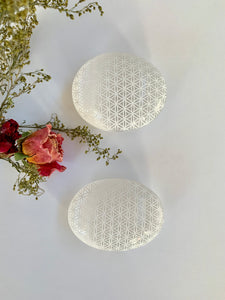 Selenite - Flower of Life Palmstone