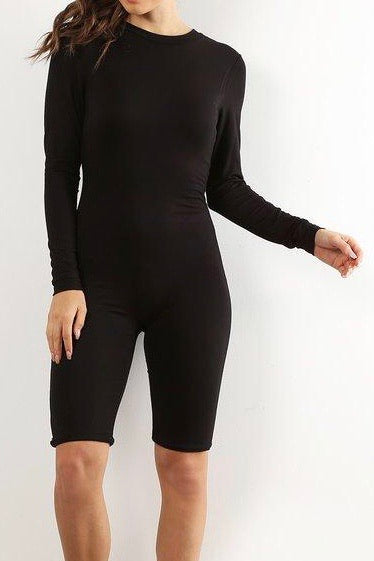 Black Biker Short Jumpsuit