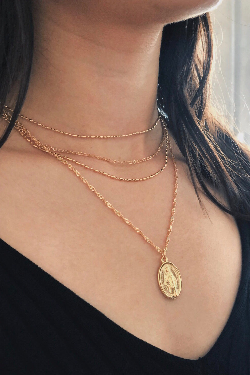 Virgin Mary Multi Layer Necklace