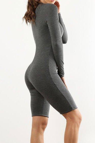 Charcoal Biker Short Jumpsuit