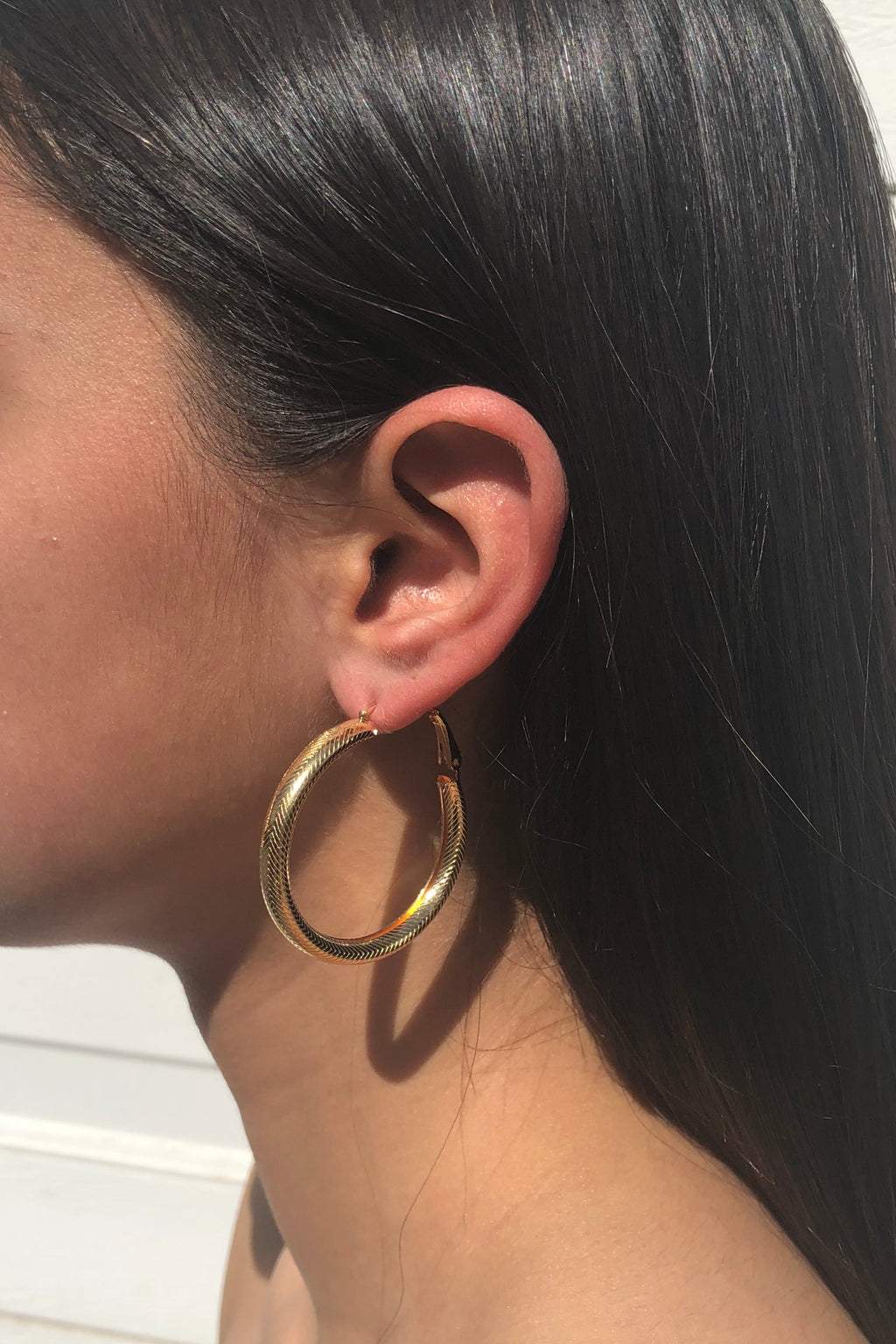 Chunky Textured Hoop Earring Set - Gold