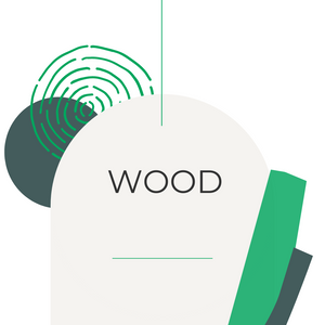 abstract wood grain, circles and rectangles in shades of green to represent woodsy scents