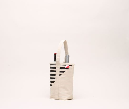 Black + Cream Striped Wine Bag