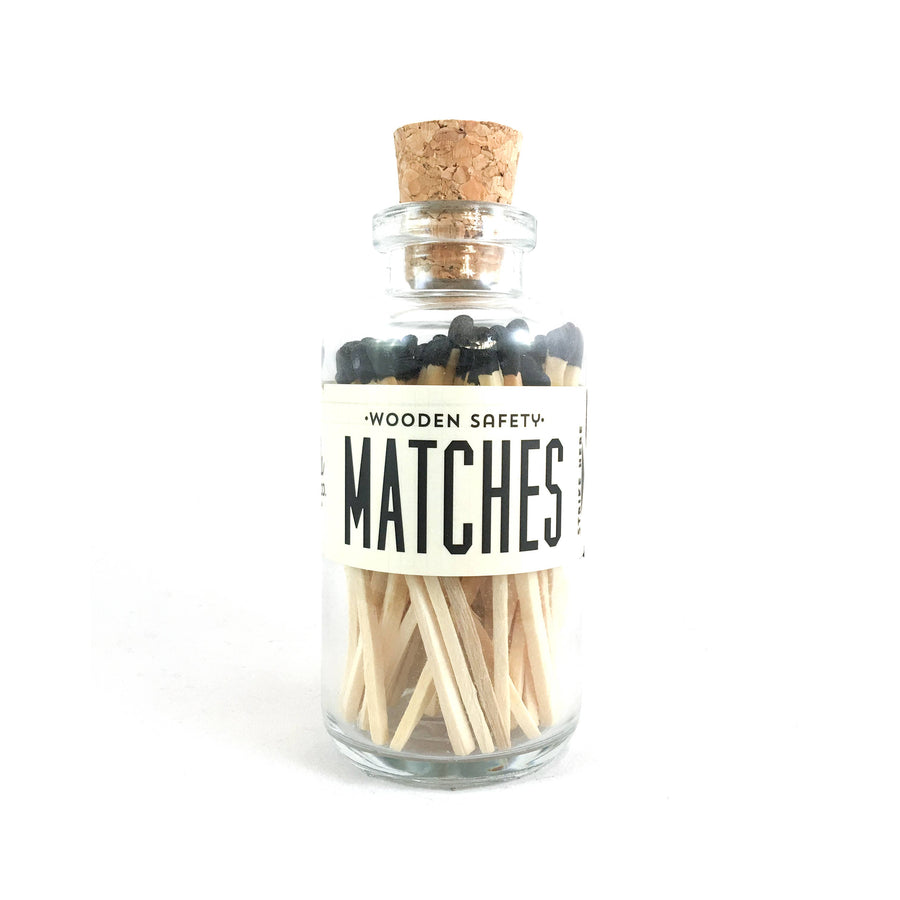 Black Wood Matches - Apothecary Bottle