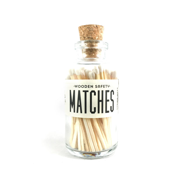 White Wood Strike on Bottle Matches - Apothecary Bottle