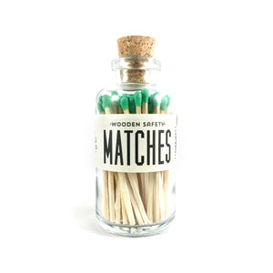 Green Hand Cut Mini Wooden Matches in Apothecary Jar