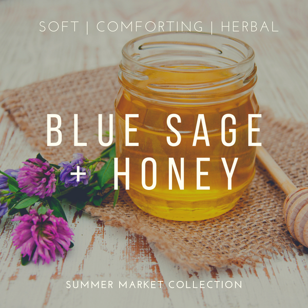 Blue Sage + Honey Vegan Scented Candle