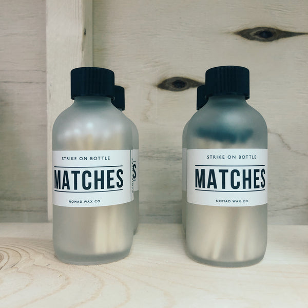 Hand Cut Wood Matches in Frosted Bottle