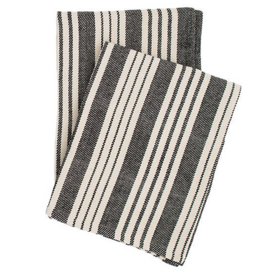 Cotton Vertical Stripe Throw Blanket in Black