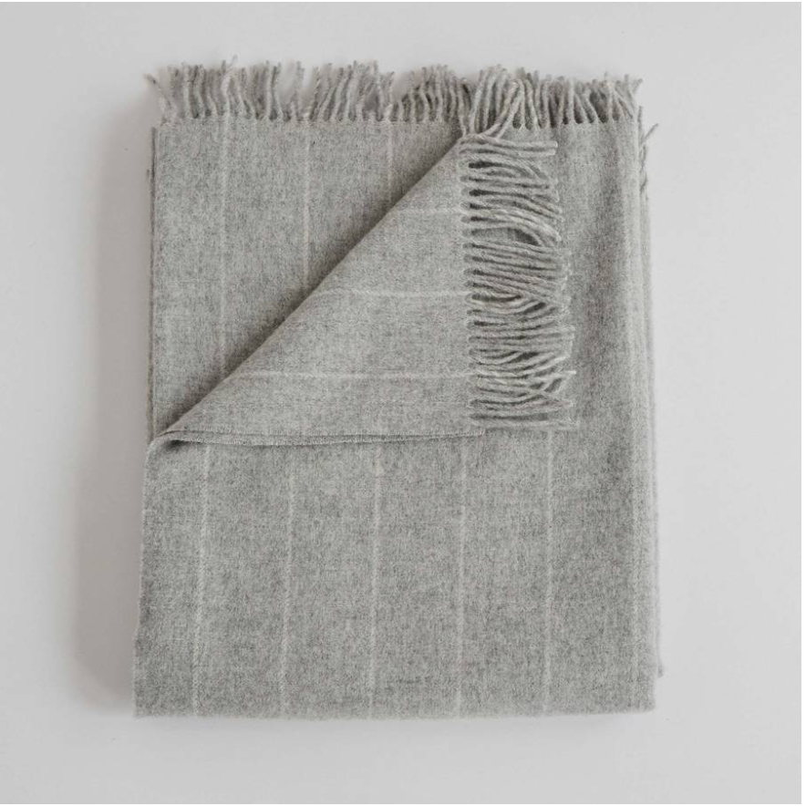 Fog Gray Pinstripe Wool Throw Blanket